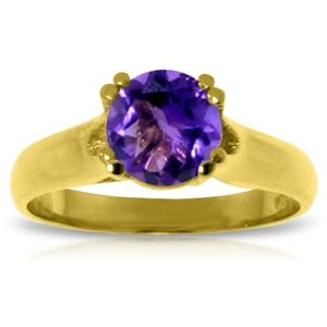 SOLID GOLD SOLITAIRE RING WITH NATURAL AMETHYST